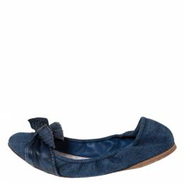 Miu Miu Blue Denim And Leather Bow Scrunch Ballet Flats Size 41 295079