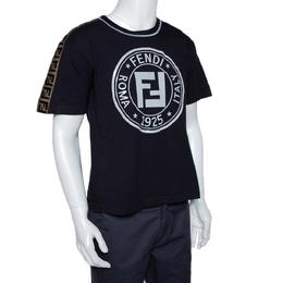 Fendi Black Embossed Logo Print Cotton Fendirama T-Shirt M 295092