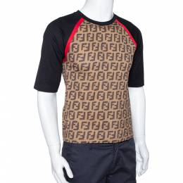 Fendi Brown FF Logo Print Cotton Raglan Sleeve T-Shirt XS 294892
