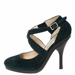 Jimmy Choo Green Suede Leather Cross Strap Platform Sandals Size 38.5 294964