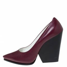 Celine Burgundy Leather Pointed Toe Wedge Pumps Size 41 295108