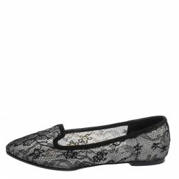 Dolce&Gabbana Black Lace And Suede Trim Ballet Flats Size 38.5 294972