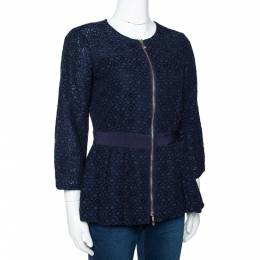 Ch Carolina Herrera Navy Blue Floral Corded Lace Peplum Jacket S 294944