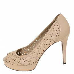 Gucci Beige Perforated Leather Peep Toe Platform Pumps Size 38.5 295010