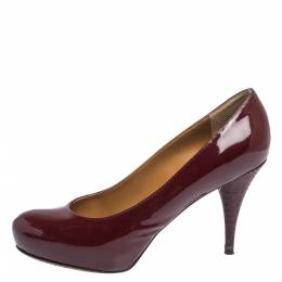 Fendi Burgundy Patent Leather FF Heels Round Toe Platform Pumps Size 39 294956