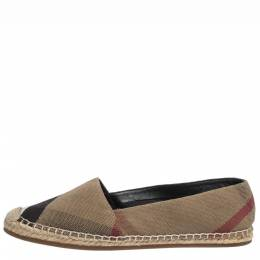 Burberry Brown Check Canvas Espadrilles Flats Size 38 294716