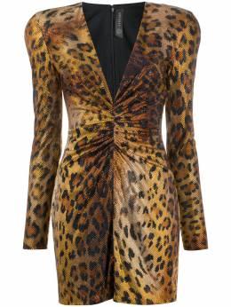 Versace платье мини с кристаллами и леопардовым принтом A86264A233831