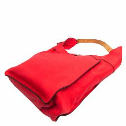 Hermes Red Taurillon Clemence Leather Marwari GM Bag 294799