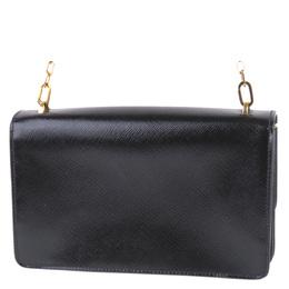 Prada Black Saffiano Vernice Leather Sound Crossbody Bag 293982