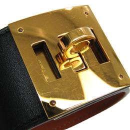 Hermes Kelly Dog Black Leather Gold Plated Wide Bracelet S 294778