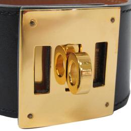 Hermes Kelly Dog Black Leather Gold Plated Wide Bracelet S 294771