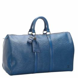 Louis Vuitton Toldeo Blue Epi Leather Keepall 45 Bag 281584