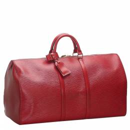 Louis Vuitton Red Epi Leather Keepall 55 Bag 277915