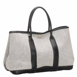 Hermes White/Black Leather And Canvas Garden Party TPM Bag 285154