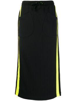 Sjyp прямая юбка миди с контрастными полосками PW1J9WSC010W