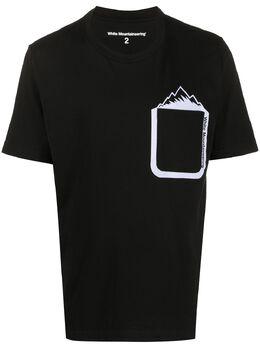 White Mountaineering футболка Mountain с карманом и принтом WM2071522