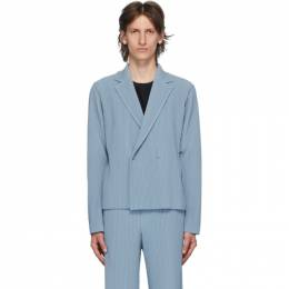 Homme Plisse Issey Miyake Blue Tailored Pleats 2 Double-Breasted Blazer HP06JD213