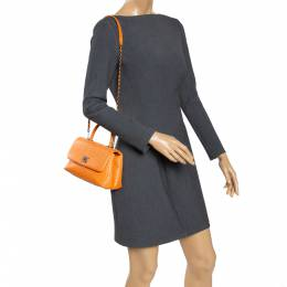 Chanel Orange Python Mini Coco Top Handle Bag 295703