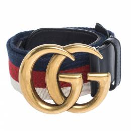 Gucci Multicolor Fabric and Leather Web GG Buckle Belt 80cm 295709
