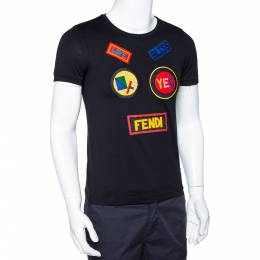 Fendi Black Patch Face Cotton Crew Neck T-Shirt XS 294933