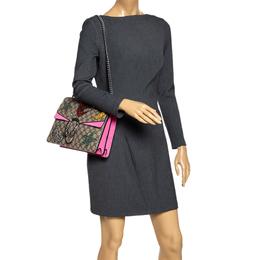 Gucci Pink/Beige GG Supreme Canvas and Suede Medium Crsytal Embellished Dionysus Shoulder Bag 294932