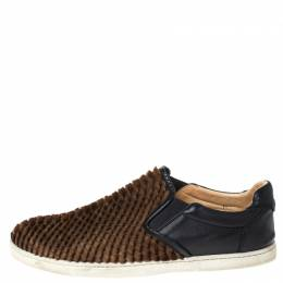 Christian Louboutin Black/Brown Calf Hair And Leather Master Key Slip On Sneakers Size 43 294755