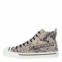 Burberry Beige Canvas Kingly Print High Top Sneakers Size 38 295726