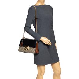 Gucci Black/Brown GG Supreme Canvas and Leather Medium Padlock Shoulder Bag 295059