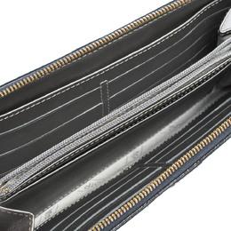 Longchamp Blue/Grey Striped Leather Le Foulonne City Zip Around Wallet 295185