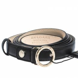Bvlgari Black Leather Ring Buckle Belt 110CM 295182
