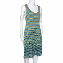 M Missoni Grey & Blue Wavy Textured Knit Sleeveless Dress L 295069
