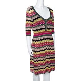 M Missoni Multicolor Chevron Cotton Linen Knit A Line Dress L 295062