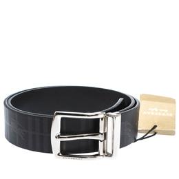 Burberry Black Haymarket Check Leather Clarke Reversible Buckle Belt 75CM 295086