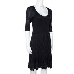 M Missoni Black Zig Zag Textured Knit A Line Dress L 295083