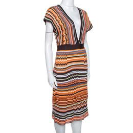 M Missoni Orange & Brown Striped Knit Plunge Neck Dress M 295088