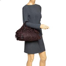 Prada Dark Brown Lace and Leather Pizzo Bowler Bag 295073