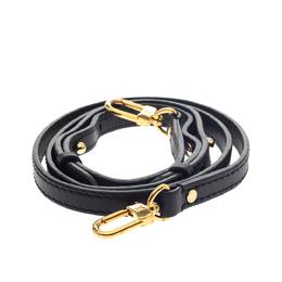 Louis Vuitton Black Leather Bag Adjustable Shoulder Strap 295677