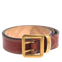 Burberry Cinnamon Brown Leather Morgan Buckle Belt 85CM 295091