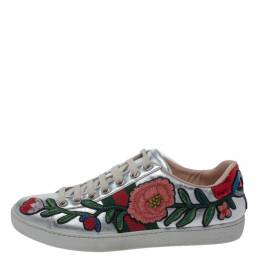 Gucci Silver Metallic Leather Ace Embroidered Low Top Sneakers Size 37 294689