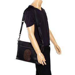 Coach Black Logo Patch Leather Rivington Messenger Bag 294894