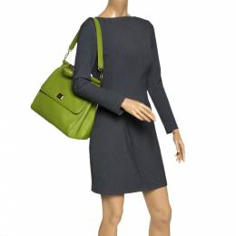 Dolce&Gabbana Green Leather Large Miss Sicily Top Handle Bag 295780