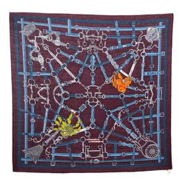 Hermes Burgundy Flamboyant Web Cashmere Blend Square Scarf 294403