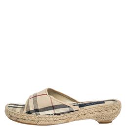 Burberry Beige Nova Check Canvas Espadrille Open Toe Sandals Size 40 295106