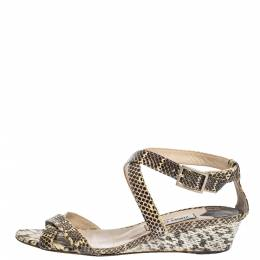 Jimmy Choo Brown/Beige Python Leather Conner Wedge Ankle Strap Sandals Size 40 295103