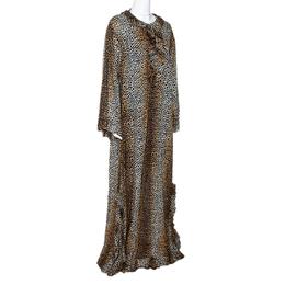 D&G Brown Animal Print Cotton Ruffled Maxi Tunic Dress S Dandg 295005