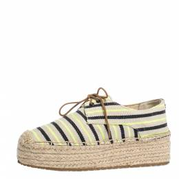 Tory Burch Multicolor Striped Canvas Florence Espadrille Flat Sneakers Size 36 295002