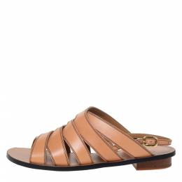 Chloe Brown Leather Slingback Flat Sandals Size 36 295718