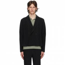 Homme Plisse Issey Miyake Black Tailored Pleats 2 Double-Breasted Blazer HP06JD213