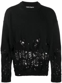 Palm Angels свитер с эффектом потертости PMHE007E20KNI0041001