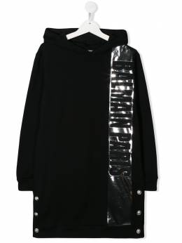 Balmain Kids платье с капюшоном и логотипом 6M1080MA010
